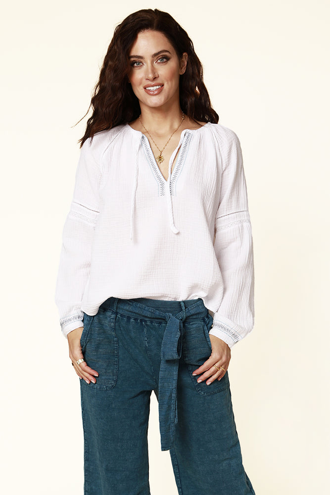 Long Sleeve Tie Front Boho Top
