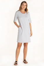 Half Sleeve Open Crew Shift Dress