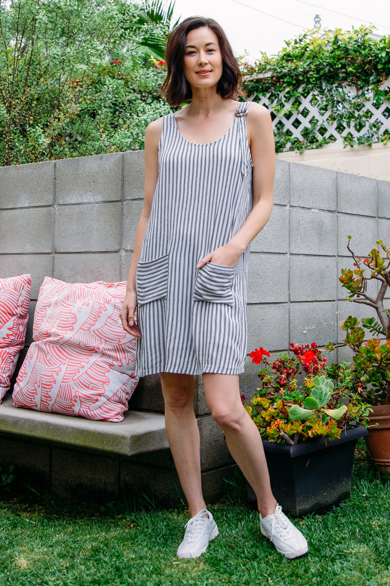 Patch Pocket Overall Dress
