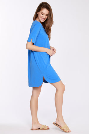 Short Sleeve V-neck Dress w/ Pleat Front
