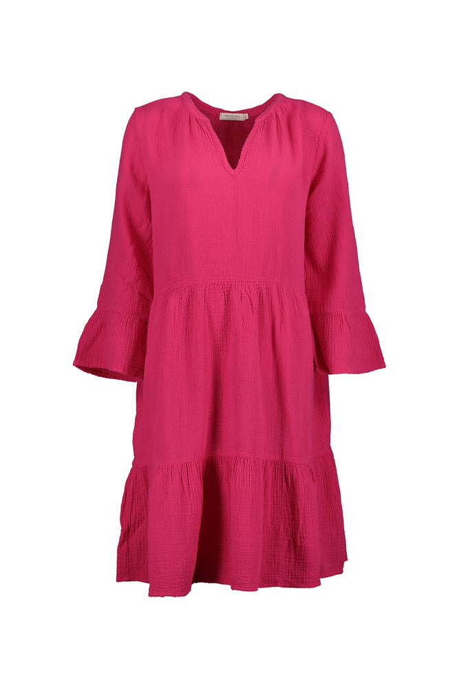 Mandarin Collar Dress w/ Ruffle Hems