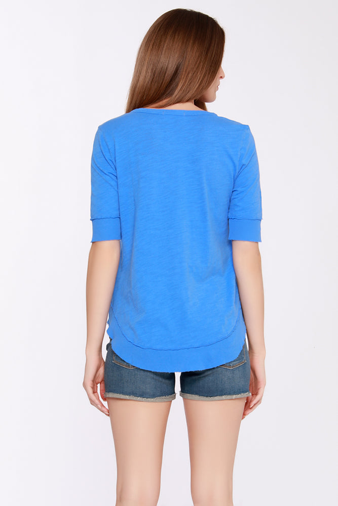 Elbow Sleeve Curved Hem Tee