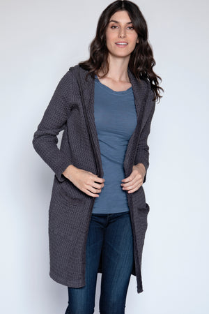 Open Front Hooded Duster Cardigan - Mododoc
