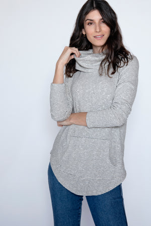 Cowl Neck Tunic w/ Kangaroo Pocket - Mododoc