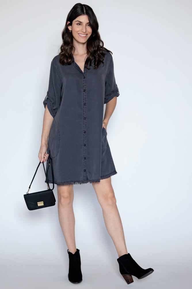 Frayed Hem A-Line Dress