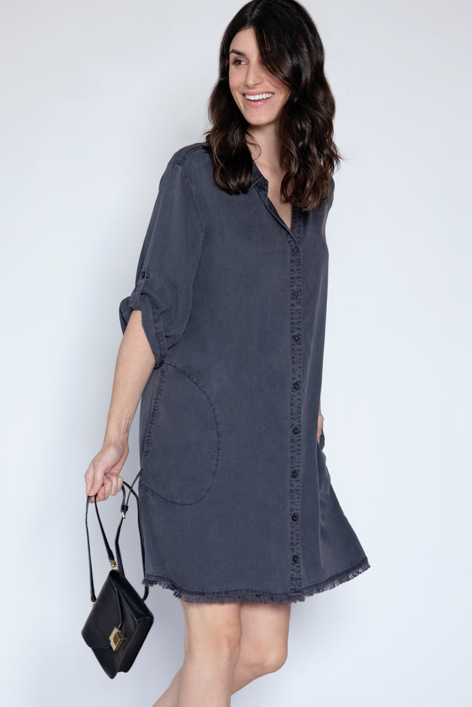 Frayed Hem A-Line Dress - Mododoc