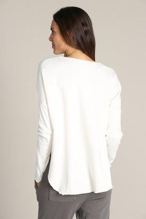 Drop Shoulder Rib Sleeves Sweatshirt
