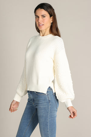 Bobble Sleeves Crewneck Boxy Pullover
