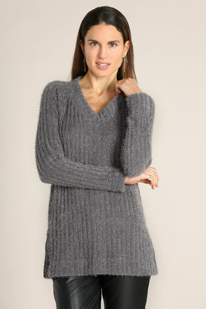 Long Raglan Sleeves V-neck Tunic