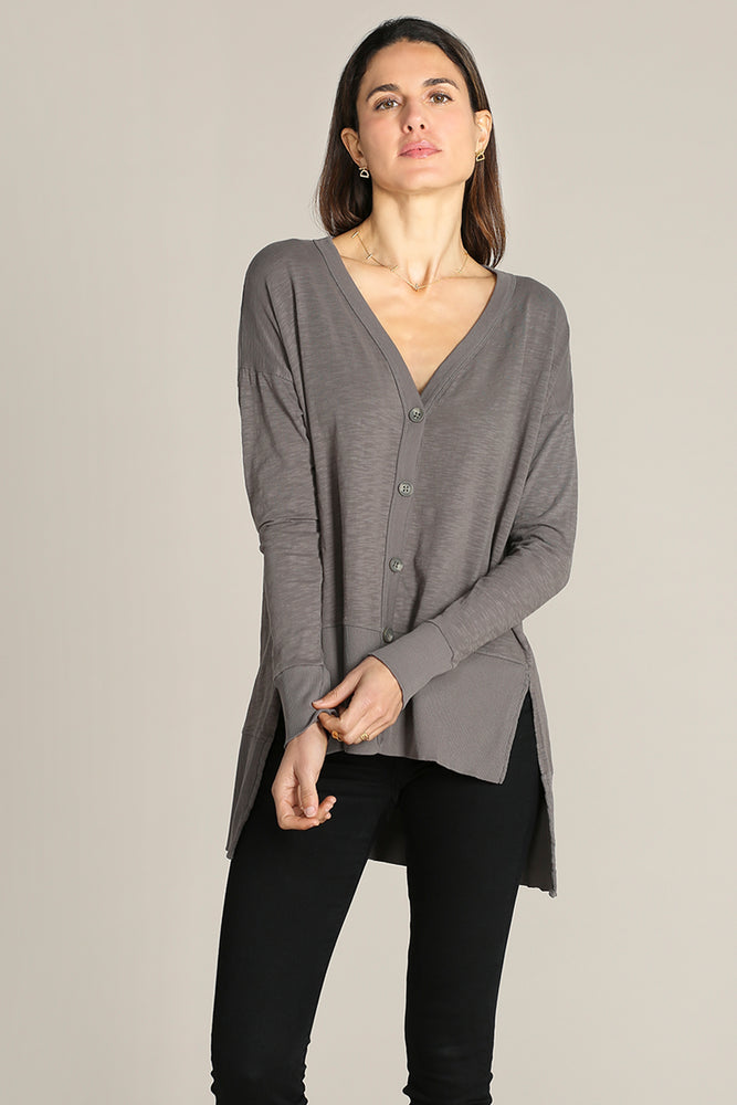 High Low Hem Cardigan W/ Rib Trim