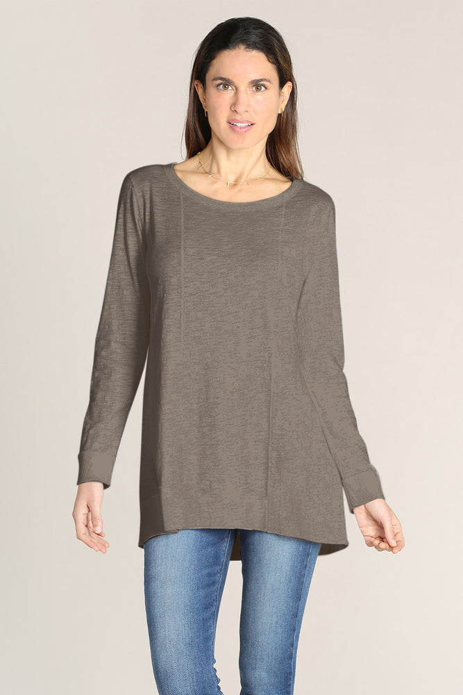 Long Sleeves Seamed Tunic W/ Rib Hem