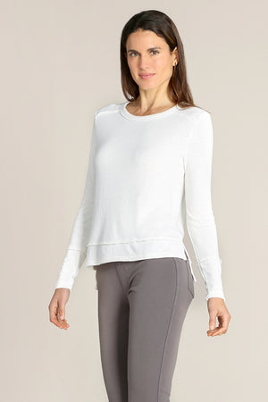 Long Sleeves Crew  Neck Step Hem Tee