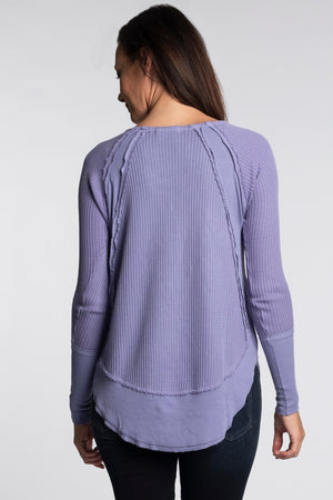 Raglan Sleeve V-Neck w/ Raw Edges - Mododoc