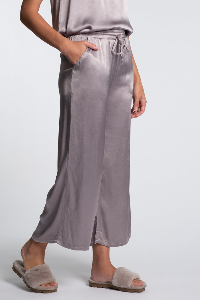 Satin Cropped Wide Leg Lounge Pant