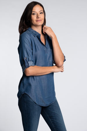 Denim Patch Pocket Tunic - Mododoc