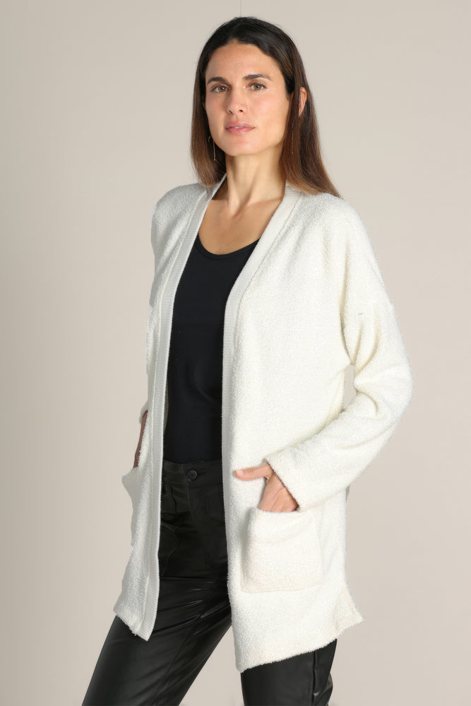 Feather Sherpa Cardigan W/ Rib Trim