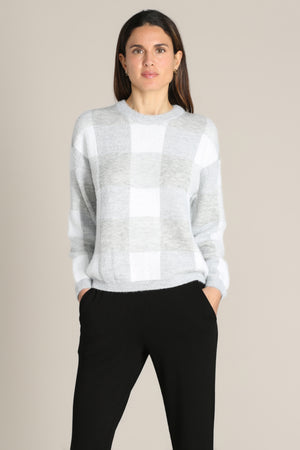 Fuzzy Plaid Crew Neck Sweater
