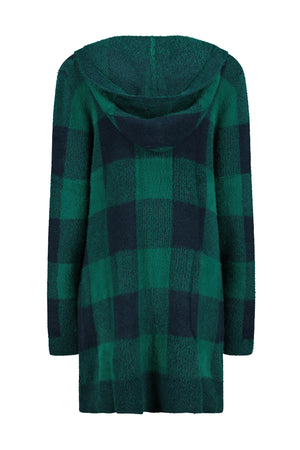 Fuzzy Plaid Hooded Patch Pocket Cardigan