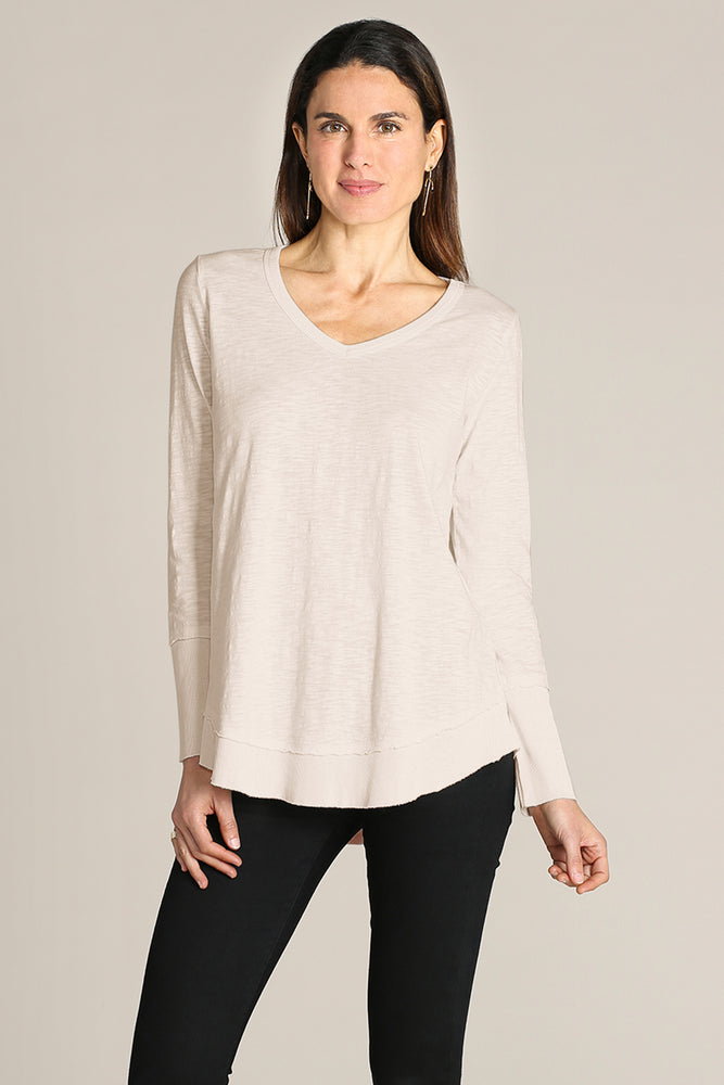 Long Sleeve V-neck Tee W/ Curved Rib Hem