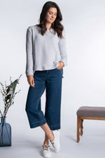 Step Hem Boxy Crew Neck Top