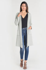 Long Sleeve Open Front Long Cardigan