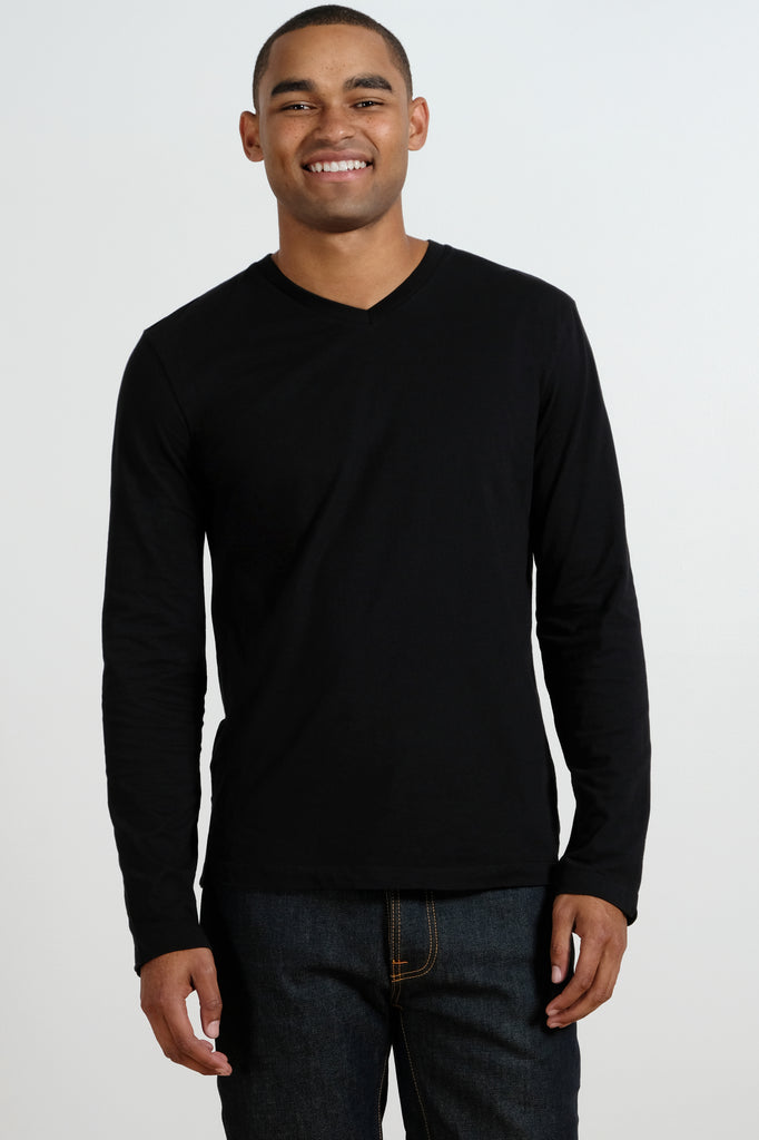 """Cardiff"" Long Sleeve V-Neck Tee - Mododoc"
