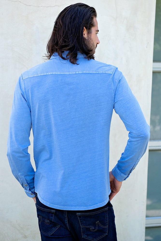 """Summerland"" Knit Long Sleeve Button Front Shirt - Mododoc"