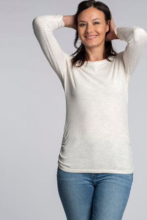 Long Sleeve Twisted Scoopneck Tee - Mododoc