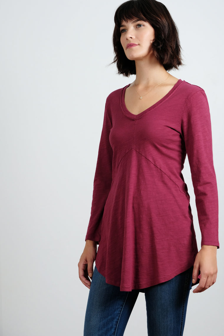 3/4 Sleeve V-Neck Tunic - Mododoc