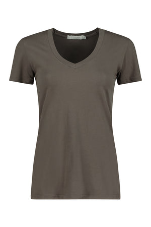 Fitted Short Sleeves V-neck