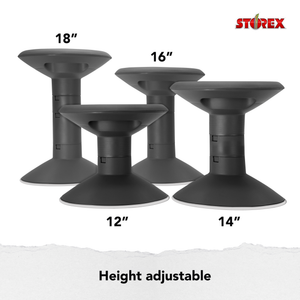 Storex Adjustable Wiggle Stool, Non-Slip Base, 12-18 Inch Height, Black