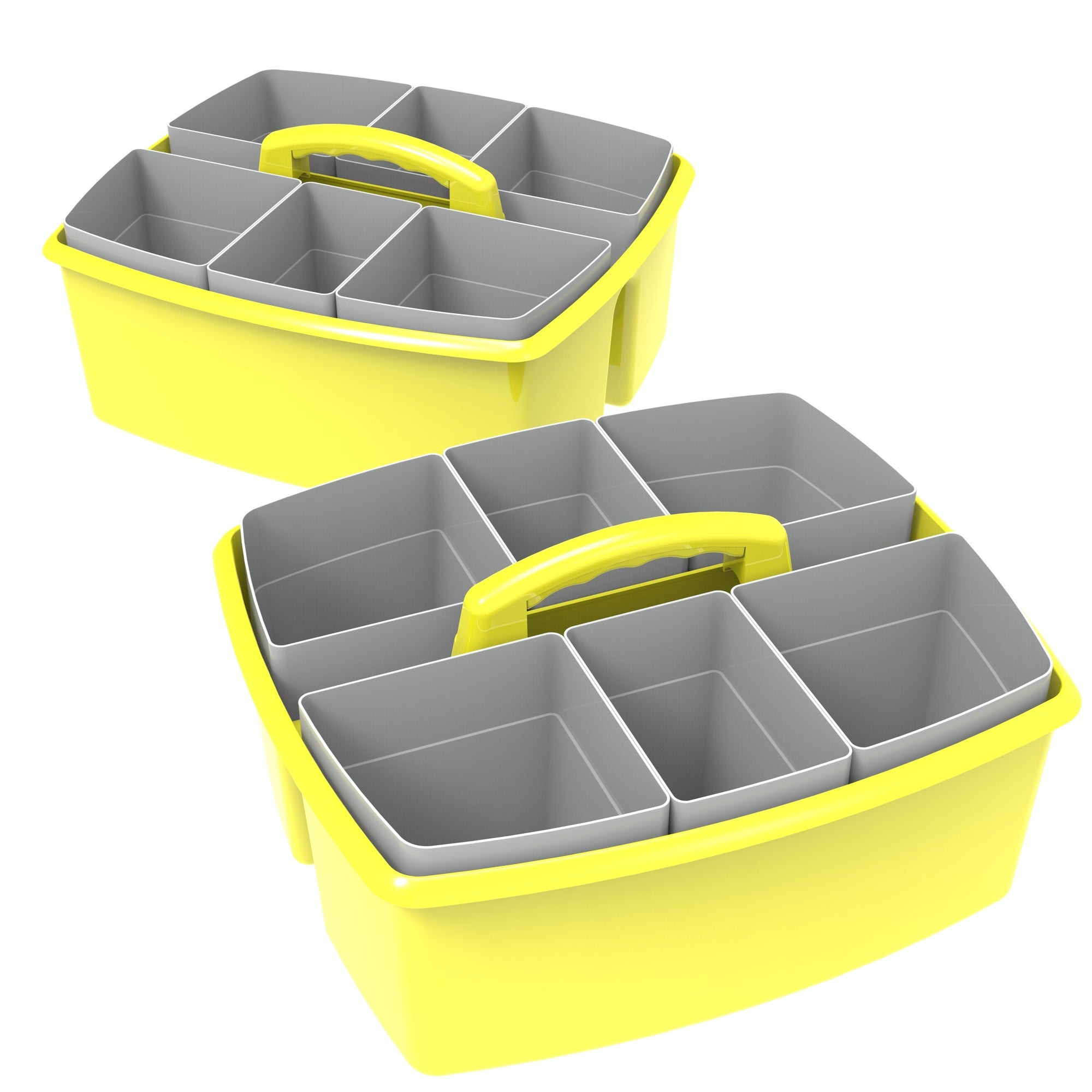 Storex Large Caddy with Sorting Cups, Yellow, 2-Pack