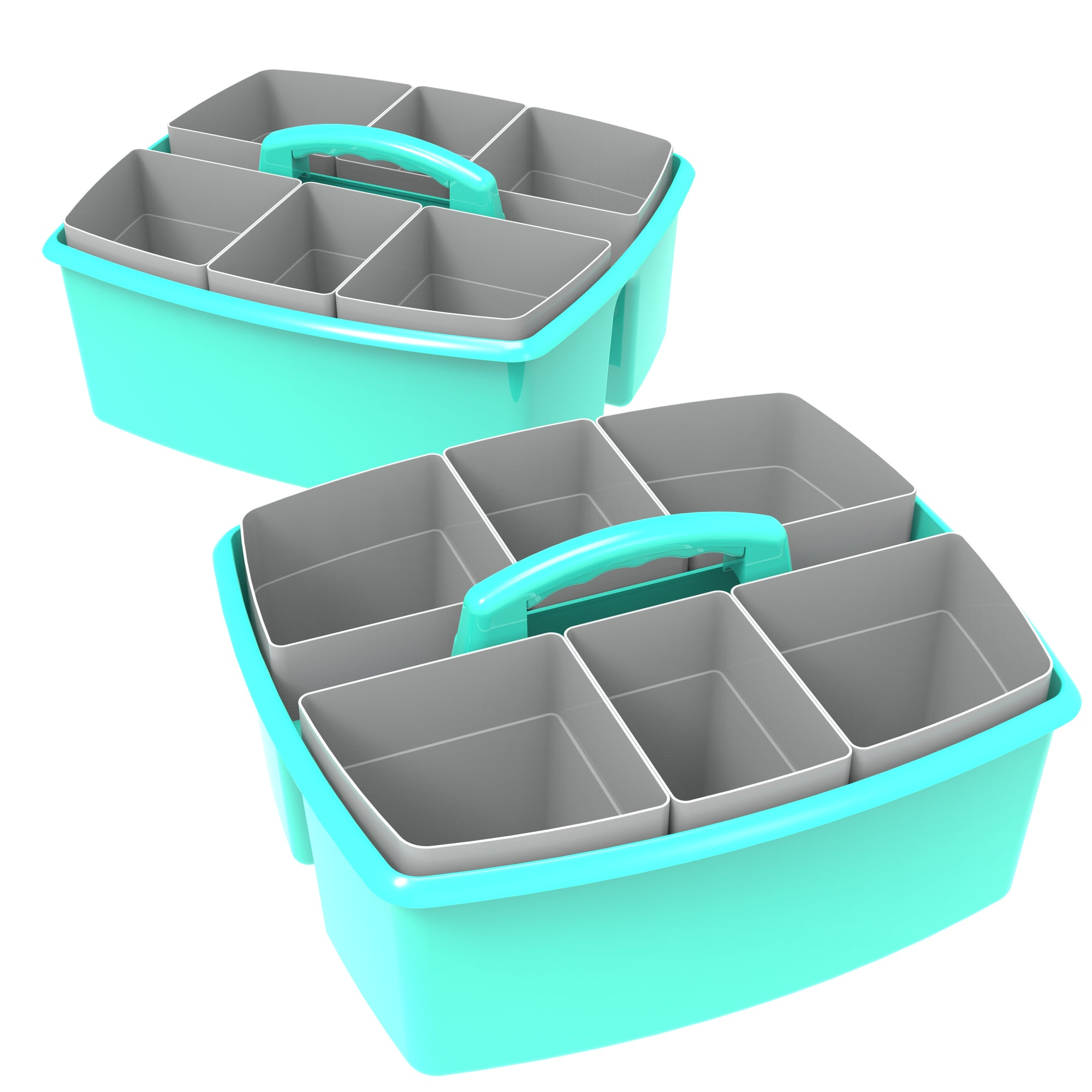 Storex Large Caddy with Sorting Cups, Teal, 2-Pack