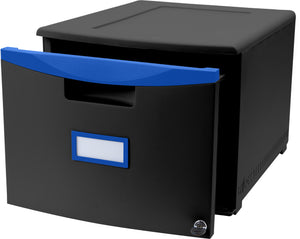 "18"" Filing Drawers, Black  Blue"