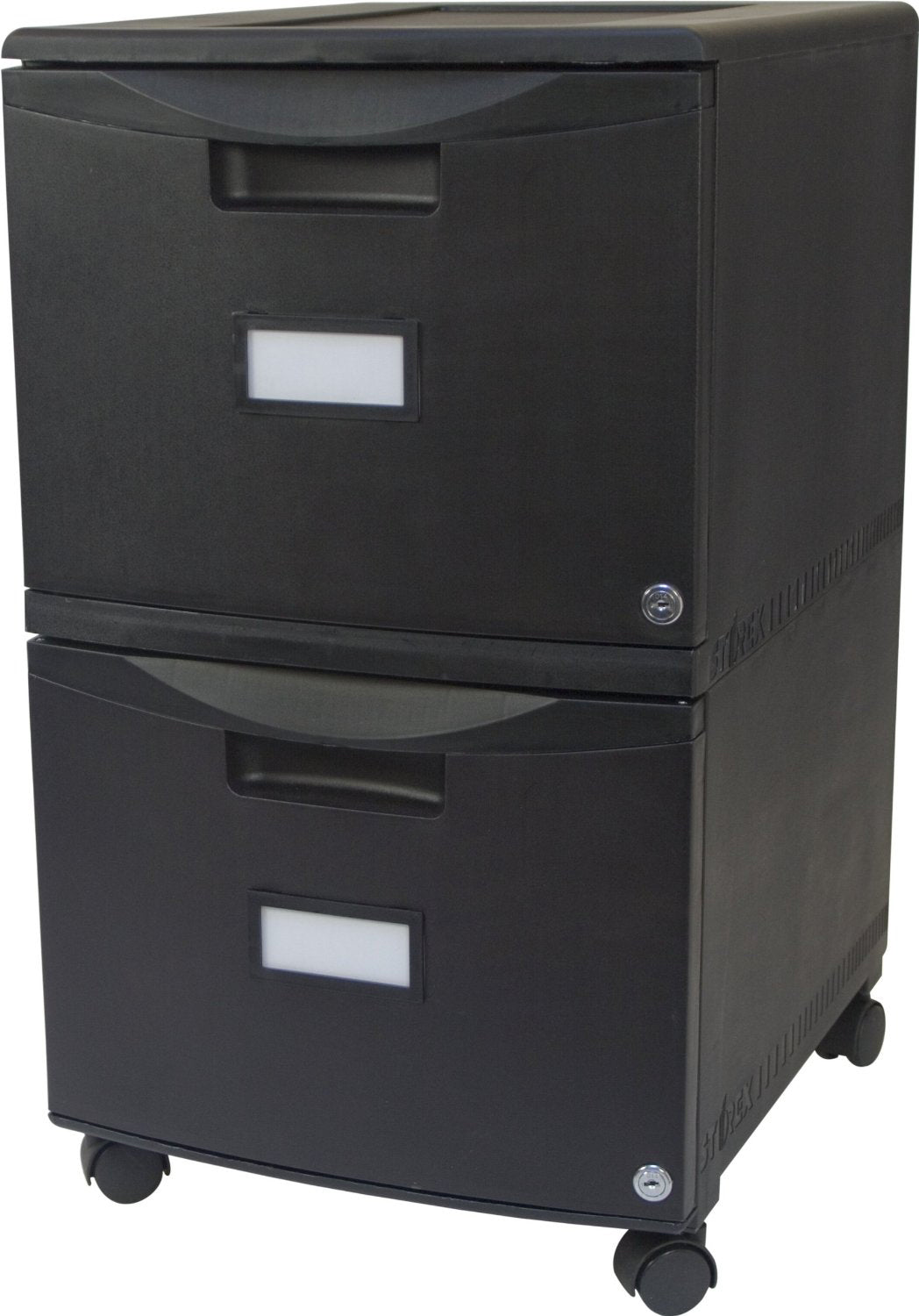 Two Drawer Mobile File Cabinet with Lock, all Black