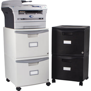 Two Drawer Mobile File Cabinet with Lock, all Black - Storex