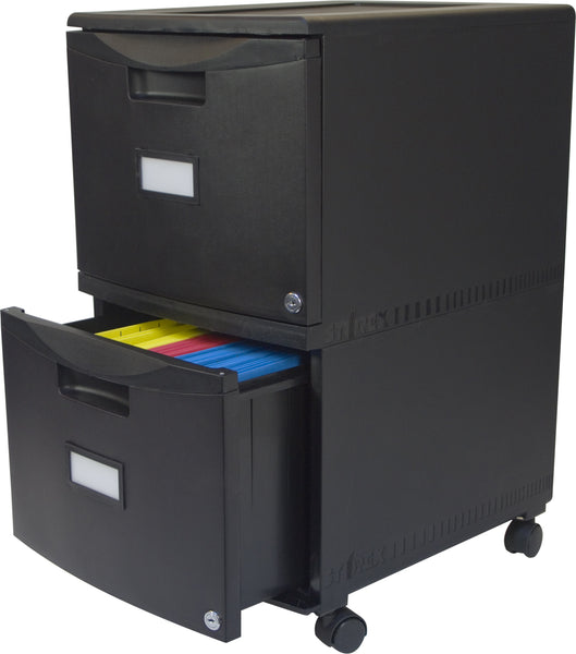 Two Drawer Mobile File Cabinet With Lock All Black Storex