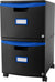 Two Drawer Mobile File Cabinet with Lock, Blue
