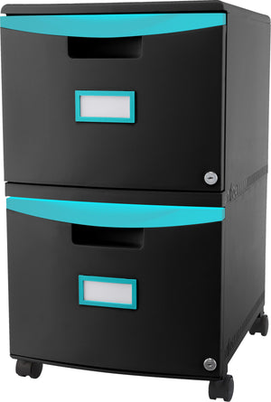 Two Drawer Mobile File Cabinet with Lock, Teal