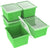4 Gallon/15 L, Classroom Storage Bin with Lid, Green (6 units/pack)