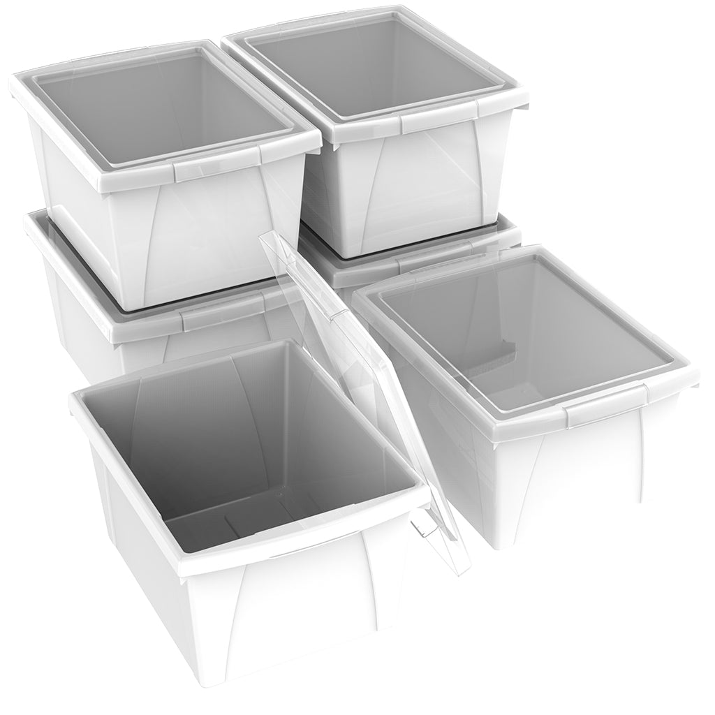 4 Gallon/15 L, Classroom Storage Bin with Lid ,White (6 units/pack)