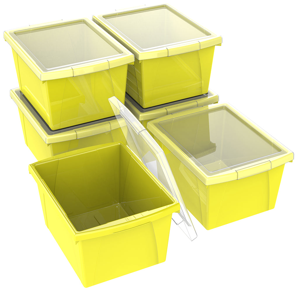 4 Gallon/15 L, Classroom Storage Bin with Lid ,Yellow (6 units/pack)