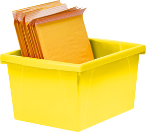 4 Gallon/15 L, Classroom Storage Bin with Lid ,Yellow (6 units/pack) - Storex