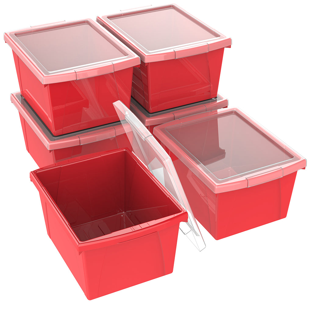4 Gallon/15 L, Classroom Storage Bin with Lid ,Red (6 units/pack)