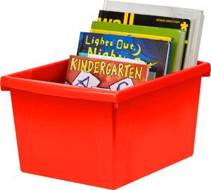 4 Gallon/15 L, Classroom Storage Bin with Lid ,Red (6 units/pack) - Storex