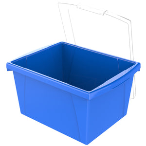 4 Gallon/15 L Classroom Storage Bin with Lid ,Blue (6 units/pack) - Storex