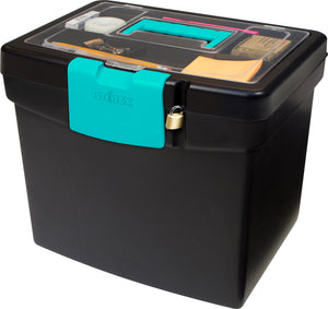 Storex File Storage Box, XL Storage Lid, Black/Teal (2 units/pack)