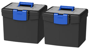 Storex File Storage Box, XL Storage Lid, Black/Blue (2 units/pack)