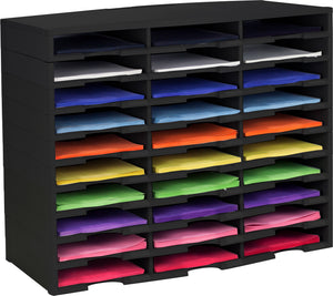30 Compartment Literature Sorter, Black