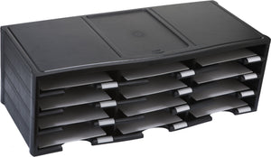 12 Compartment Literature Sorter, Black - Storex